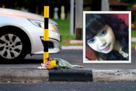Mr Sophian leaves flowers at the road divider where Miss Siti was hit.