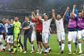 Slovakia celebrate after beating Russia in their Euro 2016 Group B encounter.