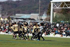 ON TRIAL: Singapore goalkeeper Izwan Mahbud (far right) turning out for Matsumoto Yamaga in a friendly against Matsumoto University last December.