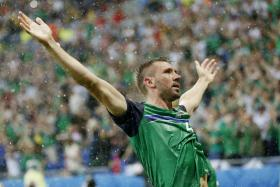 Gareth McAuley celebrates after giving Northern Ireland the lead against Ukraine in their Euro 2016 group stage clash.