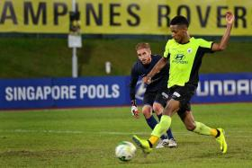 WONDERFUL WEBB: Tampines Rovers forward Jordan Webb (right) will be hoping to continue his scoring form after netting a hat-trick against the Young Lions on Tuesday.