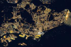 SO BRIGHT: A satellite picture of Singapore (above) taken on March 17.