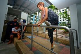 Nasita Nasrul executing a railing jump.