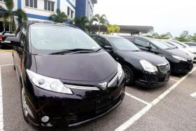 STOLEN: The six cars that were seized by the police in Kempas, Johor, on Wednesday.
