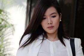 Actress Rui En and collegues leaving the State Courts