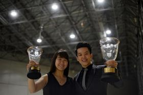 BOWLED OVER: Sportsgirl of the Year Joey Yeo (left) and Sportswoman of the Year Shayna Ng.