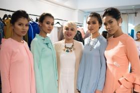 Malaysian designer Lynda Rahim (centre) with models in her LYNDARAHIM Hari Raya line.