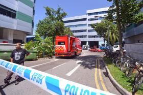 DANGEROUS: The spill of hazardous chemical triethylamine measuring 3m by 3m was contained and cleaned up by the Singapore Civil Defence Force.