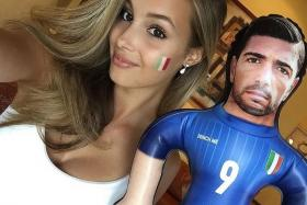 PELLE'S BELLE: Viktoria Varga, girlfriend of Italy striker Graziano Pelle, has been posting selfies with a blow-up doll of Pelle on her Instagram account, which has more than 88,000 followers.