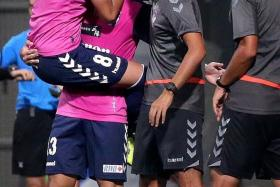 ALBIREX ACE: Atsushi Kawata (centre) earns the plaudits after his brace for Albirex Niigata.