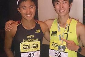 HAPPIER TIMES: Squabbling marathoners Mok Ying Ren (left) and Soh Rui Yong at the San Jose Rock N Roll Half Marathon in California last September.