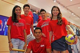 FRESH LOOK: From left, Team Singapore athletes Dipna Lim-Prasad (athletics), Chase Tan (basketball), Shakir Juanda (silat), Tay Wei Ming (badminton) and Charmaine Soh (netball) posing in the new dENiZEN Team Singapore apparel.