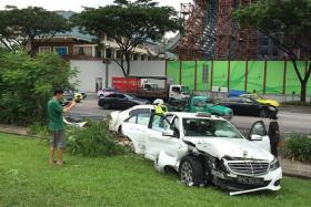 DAMAGED: The taxi and the Honda Civic after the accident yesterday.