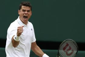 GIANT-KILLER: Canadian Milos Raonic celebrating his come-from-behind win over Roger Federer.