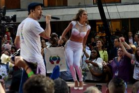 Hamilton creator and star Lin-Manuel Miranda and Jennifer Lopez perform Love Will Make The World Go Round, their tribute to the victims of the June 11 gun attack at the Orlando, Florida gay nightclub Pulse, live in New York's Rockefeller Plaza as part of the 'Citi Concert Series on NBC's TODAY Show July 11, 2016.