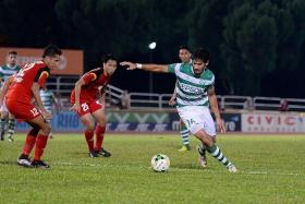 POACHER: Geylang International coach Hasrin Jailani hails the difference his mid-season transfer signing, Mark Hartmann (far right), has made with his goals.