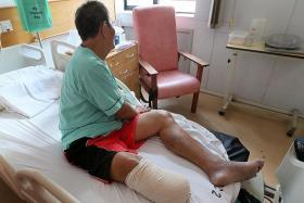 ON THE MEND: Mr Hassan Jalal is recuperating at the Ang Mo Kio-Thye Hua Kwan Hospital.