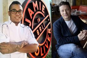 Mr Jerome Rezel (left) is now the head chef of Jamie's Italian Kuta Beach in Bali, a branch of English celebrity chef Jamie Oliver's (right) restaurant chain.