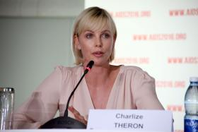 South Africa actress Charlize Theron speaks during the first official press conference in Durban on July 18,2016.
