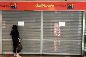 SHUTTERED: Outside California Fitness' Novena Square outlet yesterday.