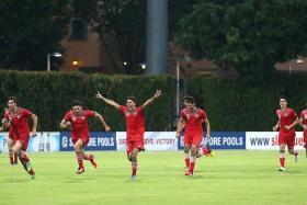 JUBILANT: Iran U-21 players celebrating after beating Uzbekistan U-21 in the penalty shoot-out.