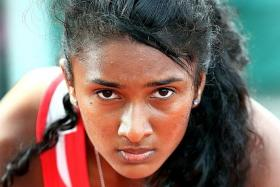 OUT OF THE RUNNING: National sprinter C Kugapriya's (above) effort of 12.30sec in the 100m was not good enough to earn her a spot in the 