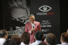 LIFE STORY: Dick Lee sharing his eyesight struggles at the VisionSave campaign launch on Tuesday.