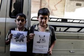 COME GET US: Photos of Syrian children circulating online.