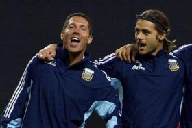 BROTHERS IN ARMS: Mauricio Pochettino (right) and Diego Simeone on national duty for Argentina ahead of World Cup 2002.