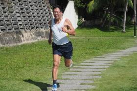 IF I CAN DO IT: Ong Beng Gee (above) spends at least an hour every day to walk, jog swim or lift weights.