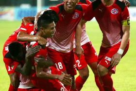 HOME COMFORT? DPMM will be out to deny any celebration by Ken Ilso (far right) and his Home United teammates, who ran rampant during their 5-0 win in May.