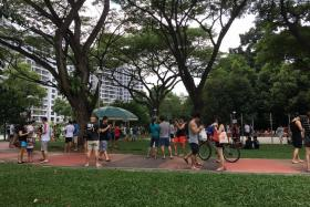 Pokemon Go players Yishun Park on the afternoon of Aug 7.