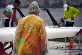 OFF COURSE: The bad weather at the rowing venue could force the event to end a day later on Sunday.