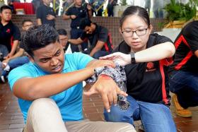 USEFUL SKILLS: Ms Chew Si Hui (wearing glasses) demonstrating how to treat an injury.