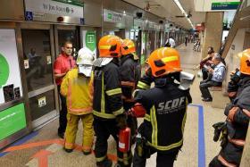 HARMLESS: SMRT said the 'smoke' was inert gas freon. The SCDF sent firemen to Tanjong Pagar MRT station as a precautionary measure.
