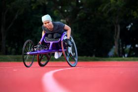 NEW WHEELCHAIR: Miss Norsilawati Sa'at will be competing in the Rio Paralympics next month.