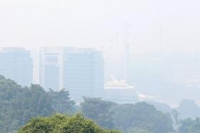 HAZY OUTLOOK: The haze also nearly masked Harbourfront Centre, the cable cars, and Sentosa as seen from Mount Faber Park at noon.