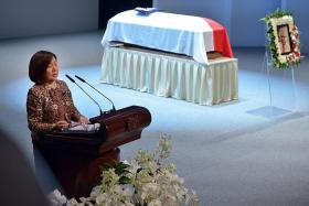 FOND MEMORIES: Ms Jennie Chua ( above ) giving her eulogy at the state funeral service yesterday.