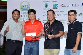 Team SunMoon with Murali Subramaniam (first from left), general manager, SPH Golf. Shooting the highest stableford score of the round (113) on Singapore Island Country Club's New Course, they managed to edge out Team Edge Golf and regain their position at the top of the league table.