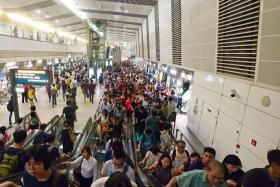 Commuters at Bishan MRT station on Sept 1.