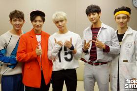 SHINee members: (From left) Onew, Lee Tae-min, Jonghyun, Minho, and Key.
