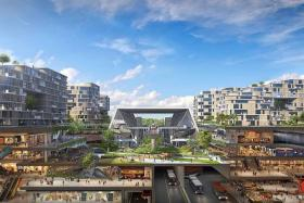 GREEN LIVING: Roads will run underneath the town centre for a car-lite environment.