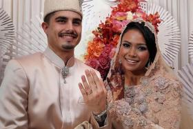 WEDDED BLISS: Local actress Nadiah M Din and Mr Bilal Jeanpierre solemnised their marriage last month.
