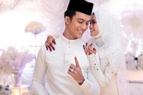 HAPPY: Local singer and actor Aliff Aziz tied the knot on Friday after dating Dayang Ara Nabellah Awang Astillah for two years and being engaged for nine months.