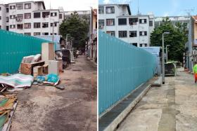 TRASH: (Left) The cleaned-up alley in Geylang Lorong 18. (Right) The same alley before workers removed the discarded furniture.