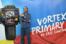 FUNNY MAN: Eric Cantona in Singapore for the launch of the Hautlence Vortex Primary watch.