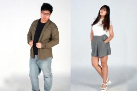 TNP Reporters Max Pasakorn (left) and Christabel Chiang (right) wearing the outfits the cheapest outfits they could find. Max's outfit costs a total of $28.50, and Christabel's outfit costs $10.