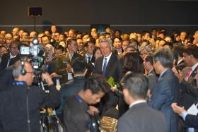 LAUNCH: (Above, centre) Prime Minister Lee Hsien Loong launched the National Cybersecurity Strategy yesterday at Suntec Convention Centre.