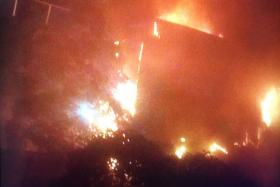 The fire at the marketplace at Block 493, Jurong West St 41 in the early hours of Oct 11.