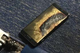 HAZARD: The Samsung Note7 belonging to a passenger that caught fire on a Southwest Airlines flight.